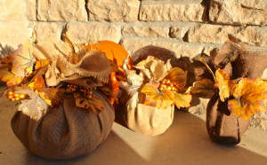 Pretty Fall Burlap Pumpkins