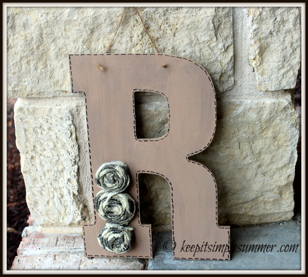 Simple DIY Burlap Flower Initial Wreath