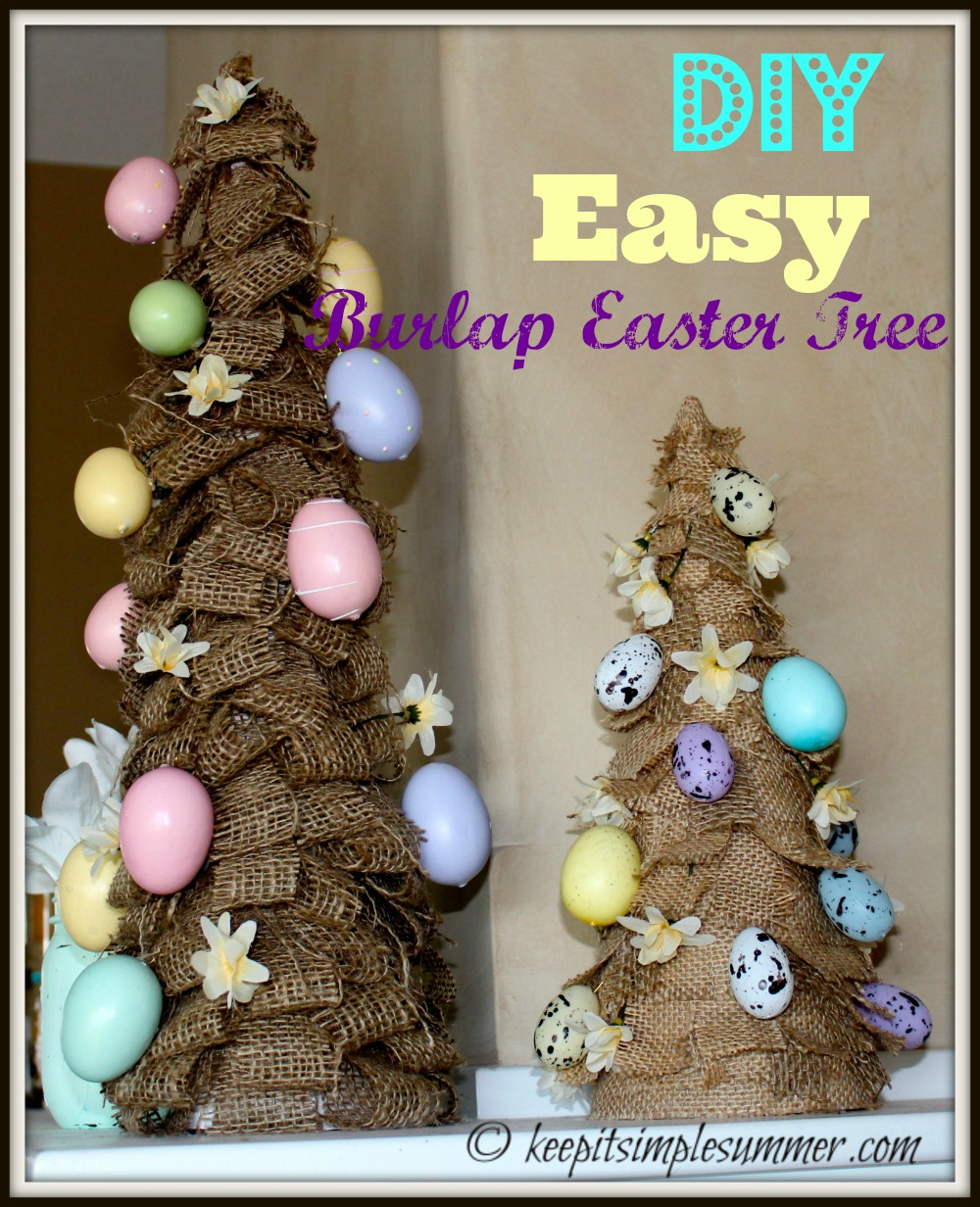 DIY Easy Burlap Easter Tree